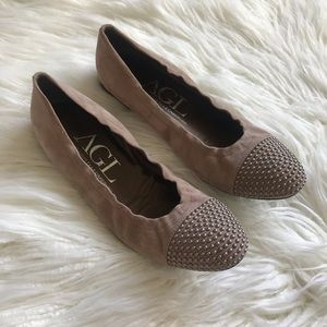 AGL Blakely Suede Studded Toe Ballet Flats